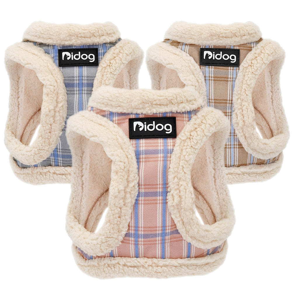 Plaid Cat Harness Nylon Puppy Dog Harness Winter Soft Padded Dog Coat Clothes For Small Dogs Pet Vest for Chihuahua Yorkshire