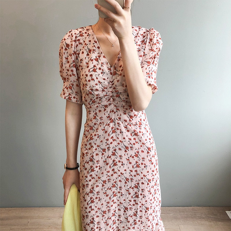 Sharezz Summer Chiffon Long Dress Woman V Neck Print Pink Sweet Elegant Casual Yellow Sundress Female Vestidos