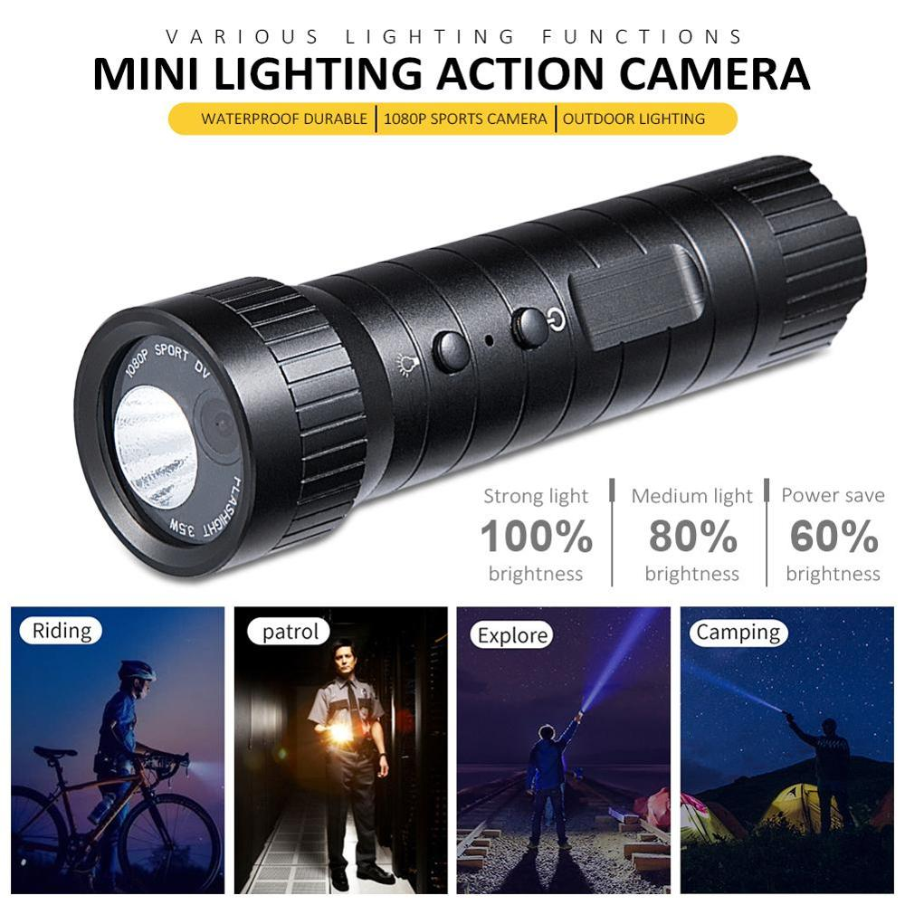 1080P HD 120° Wide-Angle Sports DV Camera Waterproof Flashlight Lighting Camera Outdoor Riding Camping Adventure Compass Camera