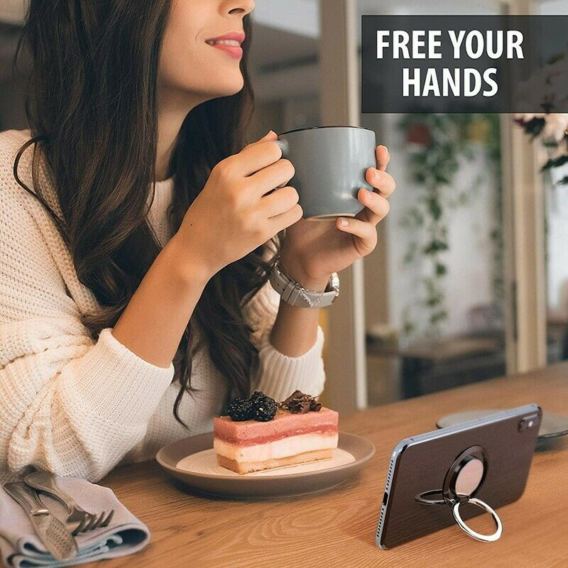 Universal Stainless Steel 360 Finger Ring Cell Phone Holder Stand Non-slip Magnetic Car Metal Grip For Smart Phones Tablets