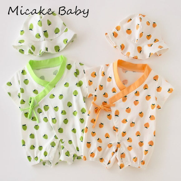 0-24M Newborn Baby Rompers Apple Stripe Dot Toddler Summer Belt Clothes Wear Hat V-Neck Short Sleeve Shorts Jumpsuit Infant