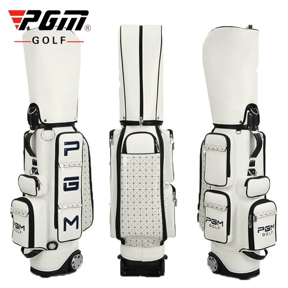 Pgm Golf Standard Ball Bag High Quality Pu Waterproof Golf Travel Bag Wheels Stand Golf Clubs Bag Storage Large Capacity A7044