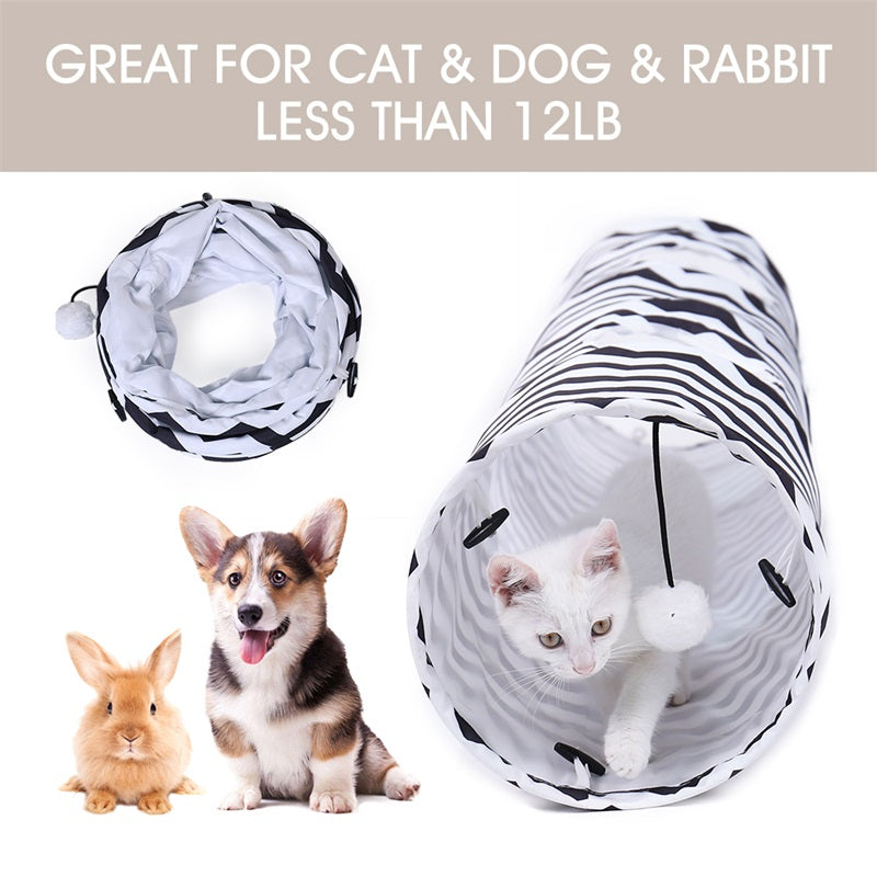 Pet Cat Tunnels 2 Holes Cat Play Tubes With Ball Collapsible Crinkle Kitten Dog Toys Puppy Rabbit Play Cat Tunnel Tubes Cat Toys