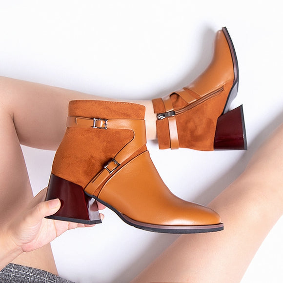 2020 Spring Black Brown Women Ankle Boots Western Cowboy Pointed Toe 4CM Block High Heels Shoes Ladies Booties Zapatos De Mujer