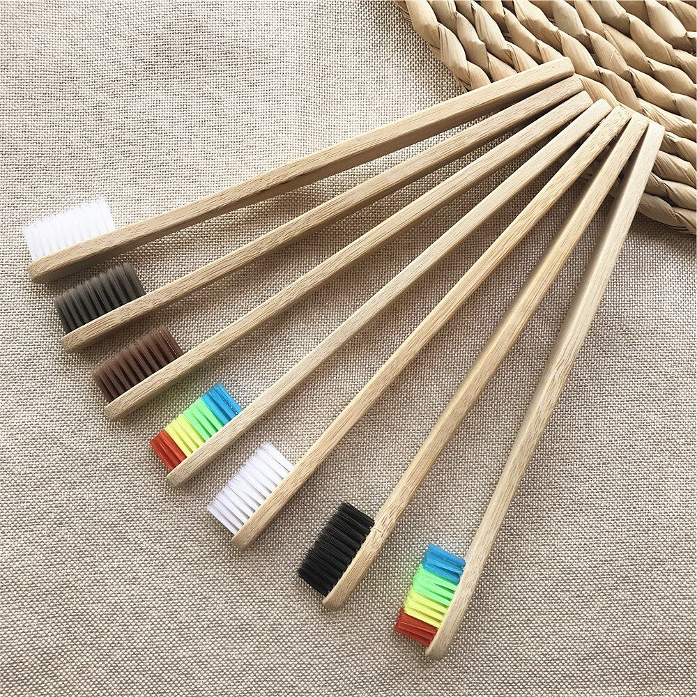 10pcs/set Environmental Bamboo Charcoal Toothbrush For Oral Health Low Carbon Medium Soft Bristle Rainbow Wood Handle Toothbrush