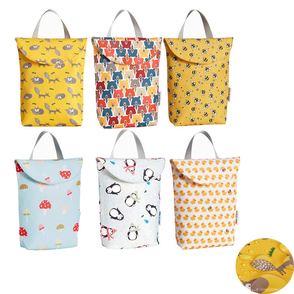 Multifunctional Baby Diaper Organizer Reusable Waterproof Fashion Prints Wet/Dry Bag Mummy Storage Bag Travel Nappy Bag