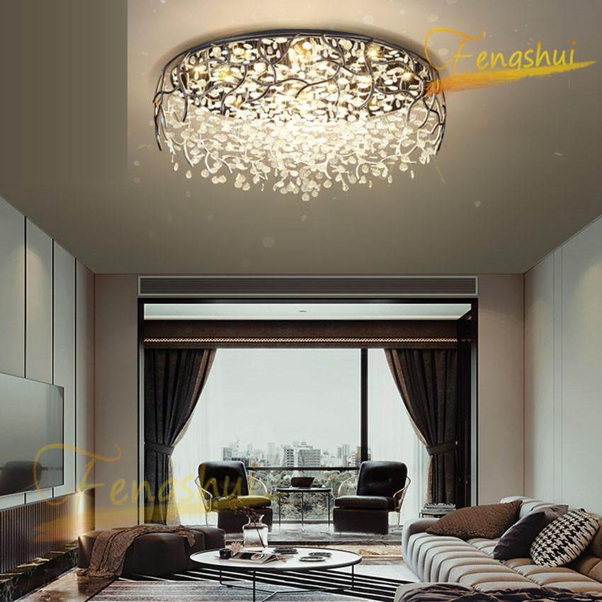 Modern Crystal LED Ceiling Lamp Lighting Nordic Wrought Iron Garland Crystal Chandelier Bedroom Dining Room Living Room Lamp