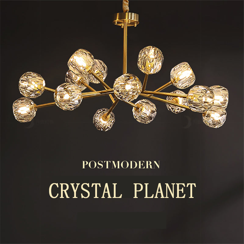 Modern ALL Copper Crystal Chandelier American indoor Lighting Dining Room Luxury Gold Lustre Kitchen Molecular art Hanging Lamps