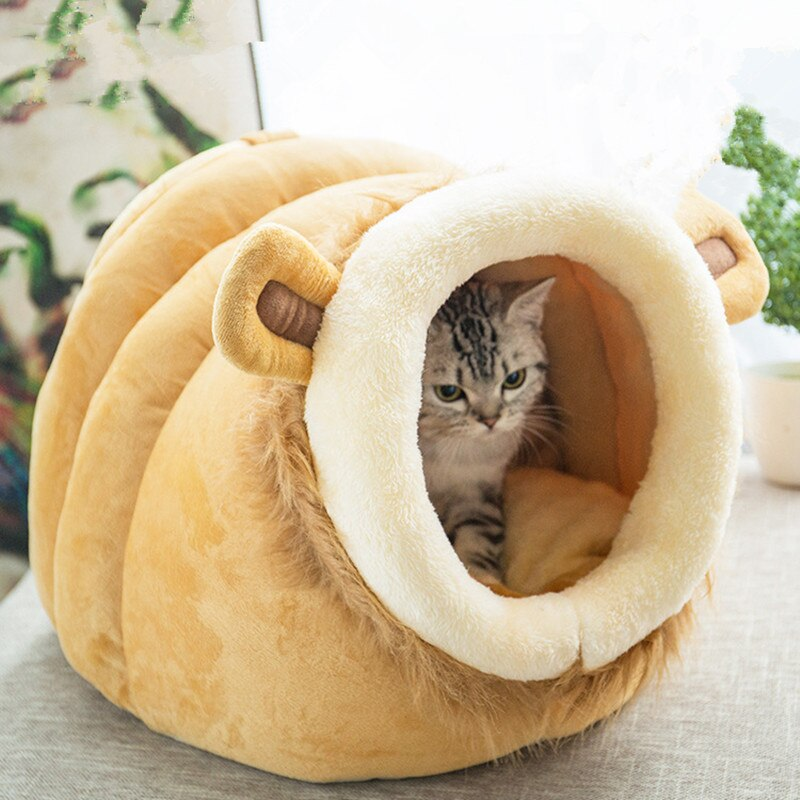 Lovely Pet Dog Cat Bed Cat Sleeping Bag Winter Warm Pet House Cat Nest With Detachable Cushion Mat for Kitten Puppy Cat Houses