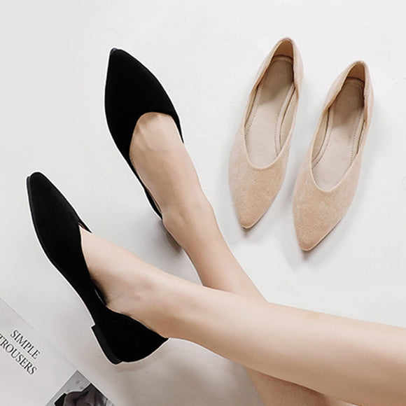 2020 Single Shoes Ladies Flats Pointed Toe Ballerina Women Velvet Shoes Big Size 42/43 Solid Slip On Loafers Woman Dress Shoes