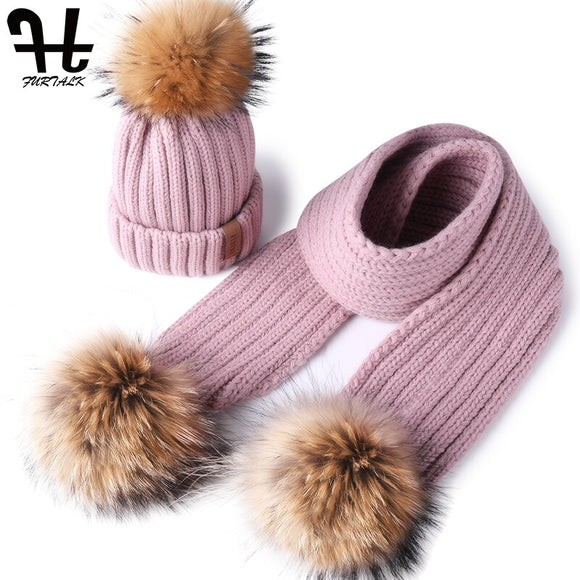 FURTALK Kids Winter Hat and Scarf for Girls Boys Beanie Hat Warm Baby Fur Pom Pom Hats Scarves for Kids Child Ages 1-4