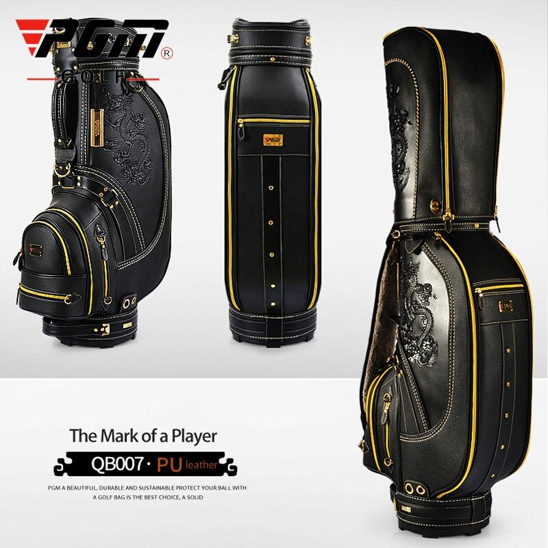 Pgm Standard Golf Bag For Women Men Dragon Pattern Waterproof Durable Golf Travel Package Leather Golf Club Bags D0087