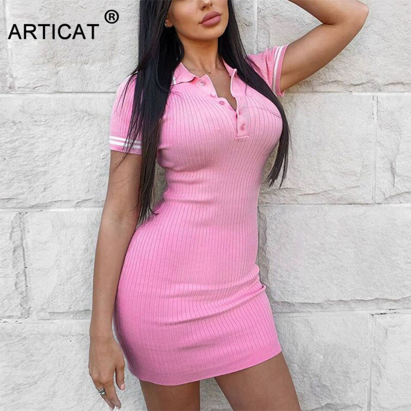 Articat Woman Casual Ribbed Knitted Dress Turn Down Collar Short Sleeve Bodycon Mini Dress 2020 Summer Women Streetwear Clothes