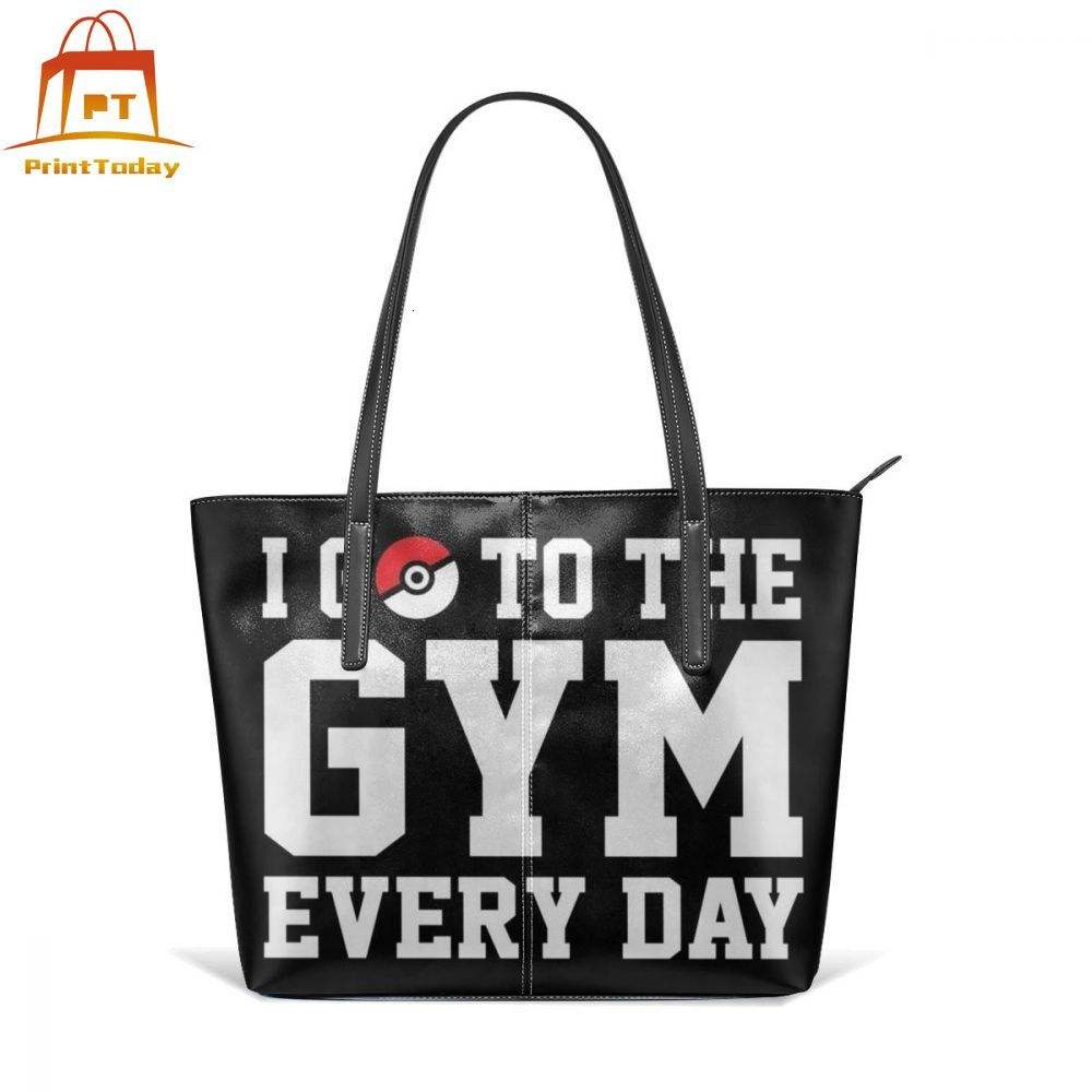 Gengar Handbag I GO TO THE GYM EVERY DAY Top-handle Bags Womens High quality Leather Tote Bag Trendy Print Women Handbags