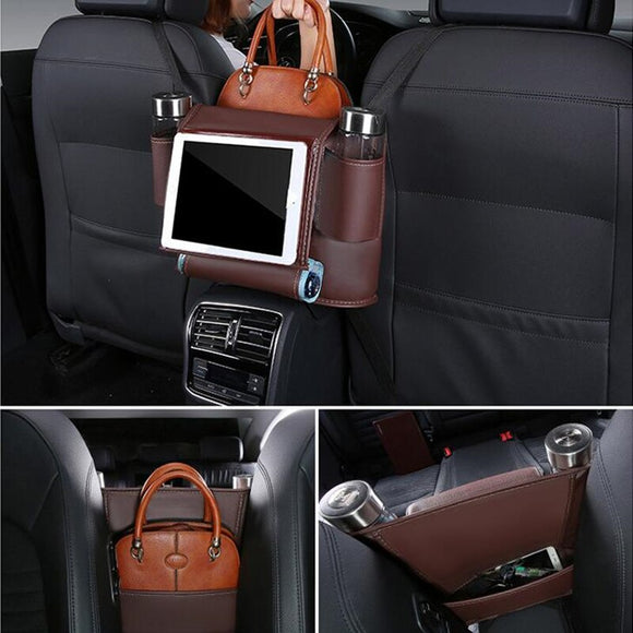 Car Back Hanging Storage Bag Pocket Seat Storage Trunk Organizer Auto Accessorie Interior PU Leather     Car Back Seat Organizer