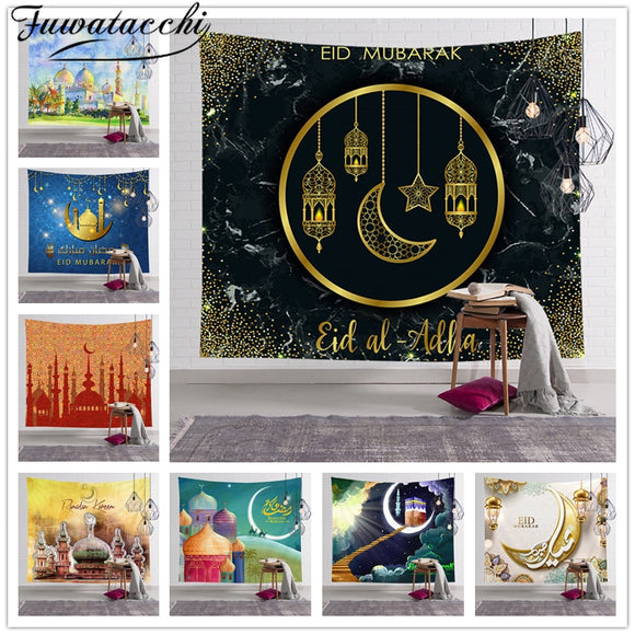 Fuwatacchi Eid Mubarak Decor Muslim Wall Hanging Tapestry Traveling Camping Pattern Boho Tapestry Yoga Pad Sleeping Tapestries