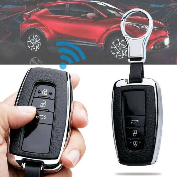 Car Styling Leather Key Chain Ring Cover Case Holder For Toyota Camry CHR RAV4