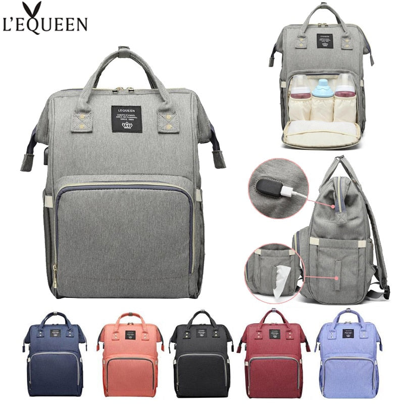 LEQUEEN Newborn USB Baby Diaper Bag Mummy Outdoor Travel Maternity Nursing Backpack Waterproof Nappy Changing Organizer Bag