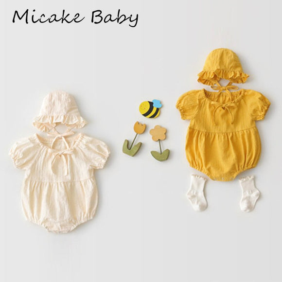 Newborn Baby Girls Short Sleeve Rompers Cotton Cute Robe Yellow Jumpsuits with Hat Summer Onesies Jumpsuit Toddler Baby Clothes