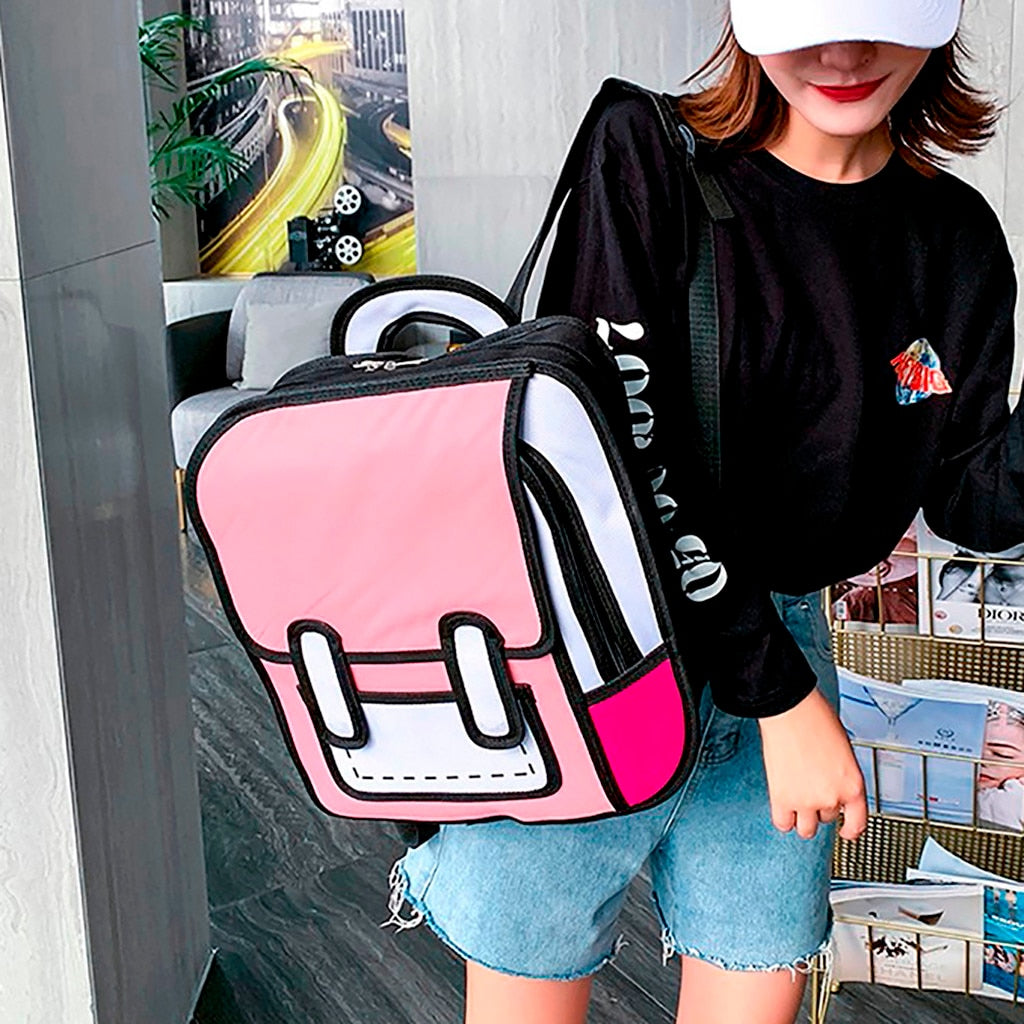 Women Backpack 3D Jump Style 2D Drawing Cartoon Back Bag Comic Messenger Tote Fashion Cute Student Bags Unisex Knapsack Bolos
