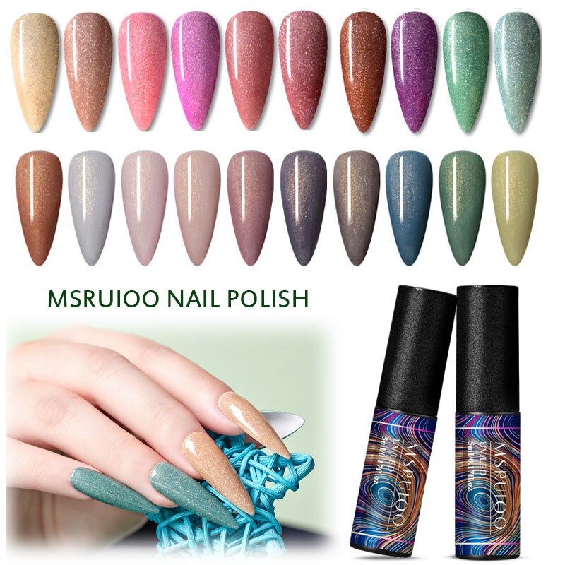 MSRUIOO UV Gel Nail Polish Holographic Shining Glitter Soak Off Long Lasting Semi Permanent Nail Art Gel Varnish Manicure Tools