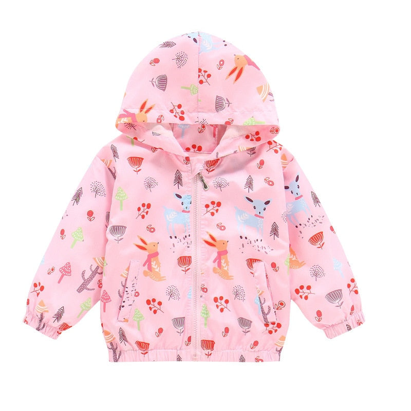 Bear Leader Baby Girls Coats New Kid Girls Casual Cartoon Animal Print Jacket 2020 New Children Autumn Clothing with Hat Suits