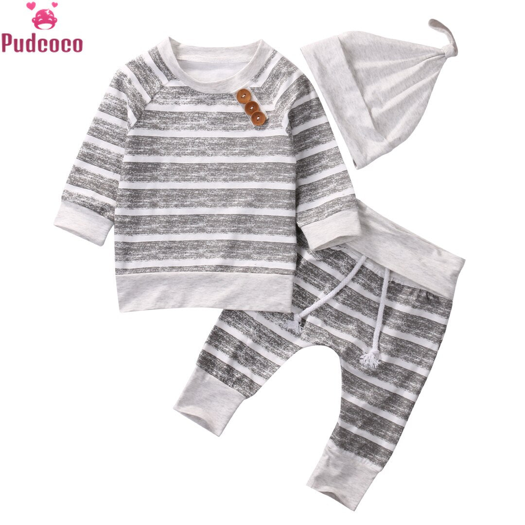 3 piece Long Sleeve Stripe Buttons Decor Sweatshirt Top,Striped Pant with Hat Set For Baby Boy Autumn Clothes