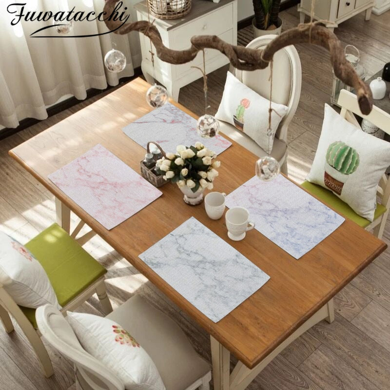 Fuwatacchi Marble Pattern Placemat Pad Dining Table Mat Heat Insulation Non Slip Placemats Coaster Desktop Kitchen Decoration