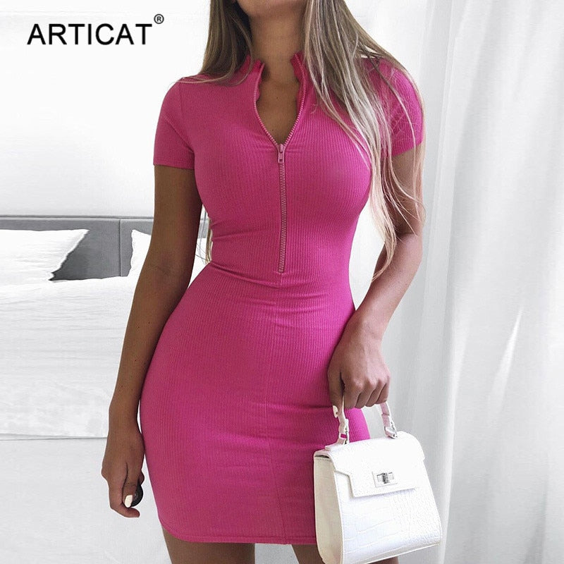 Articat Sexy Zipper V Neck Bodycon Dress Women Short Sleeve Pink Mini Sheath Dress 2020 Summer Streetwear Clothes For Woman