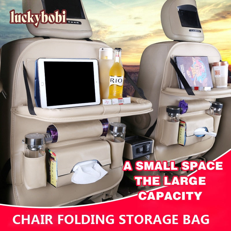 Pu Leather Pad Bag Car Seat Back Organizer Foldable Table Tray Travel Storage Bag Foldable Dining Table Car Seat Storage Bag