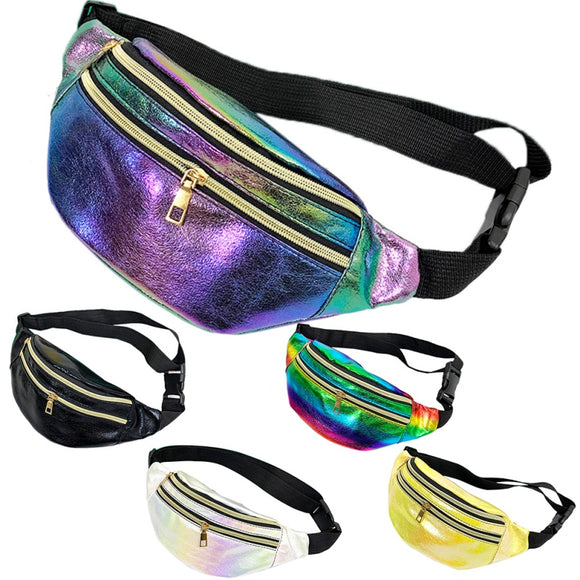 Fashion New Waist Bag Colorful Gradient Color Fanny Pack Belt Bag Nerka Double Zipper Chest Bag Unisex Shoulder Bag