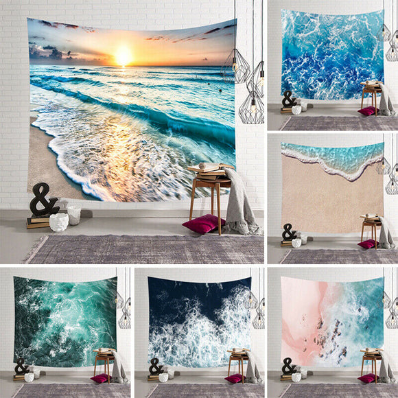 2019 Fashion Brand New Cartoon Sea Waves Art Hanging Wall Hippie Tapestry Home Decor Yoga Beach Towel