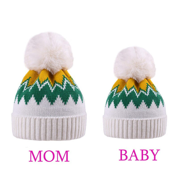 Parent-Child Hat Mother Child Daughter Son Baby Winter Warm Soft Knit Hat Family Cochet Beanie Yellow green Ski Cap with Pom Pom