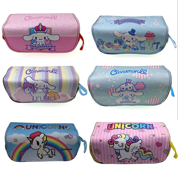 Kawaii Cinnamoroll Unicorn Cosmetic Cases Bags Students Leather Pencilcase Stationery Holder double Zipper Pen Pencil Bag