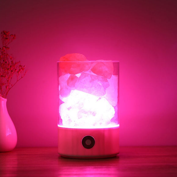 Good for Health USB Real Himalayas Crystal Rock lava Lamp Small Mineral Negative Ionic Stone Lava Salt Night Light for Bedroom