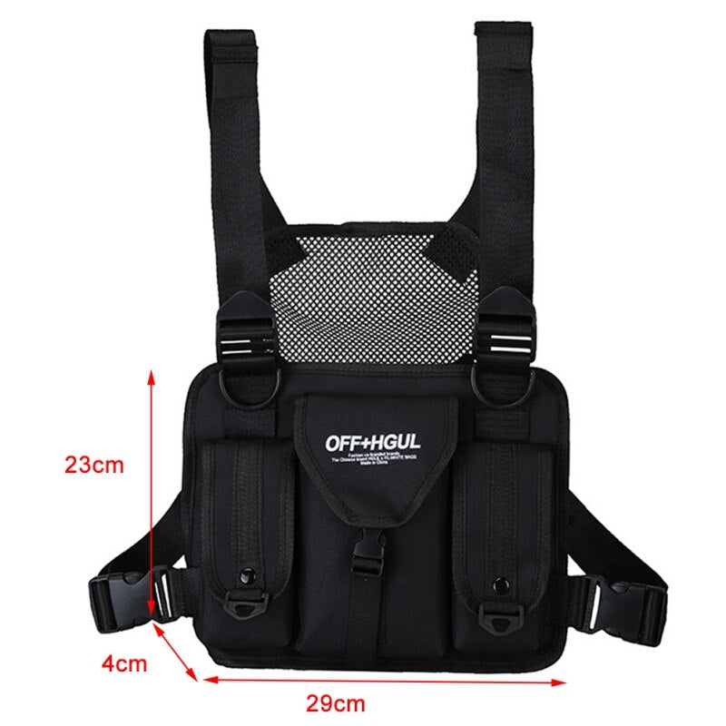 Hot Chest Rig Bag Reflective Vest Harness  Front Chest Bag Waist Pouch Backpack Hip Hop Bag