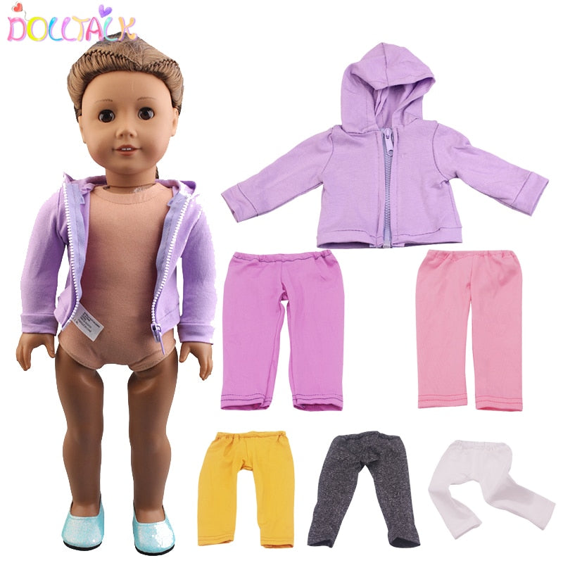 Purple Fashion Zippered Jacket With Hat 5 Colors Pants Baby Dolls Clothes For 18 Inch 43cm New Born Doll Accessory Girl Gift