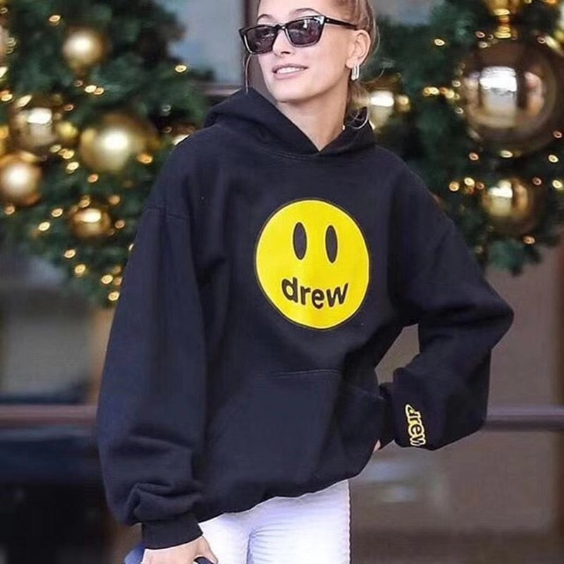 Justin Bieber Hoody Drew House Fleece Hoodie Sweatshirt Men Women Pullover The Most High Quality Smily Hooded