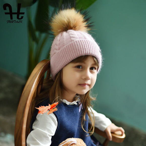FURTALK Kids Pompom Beanie Hat Baby Winter Knitted Hat Girls Boys Wool Rabbit Fur Hat with Raccoon Fur Pom Pink Cute Cap 2019
