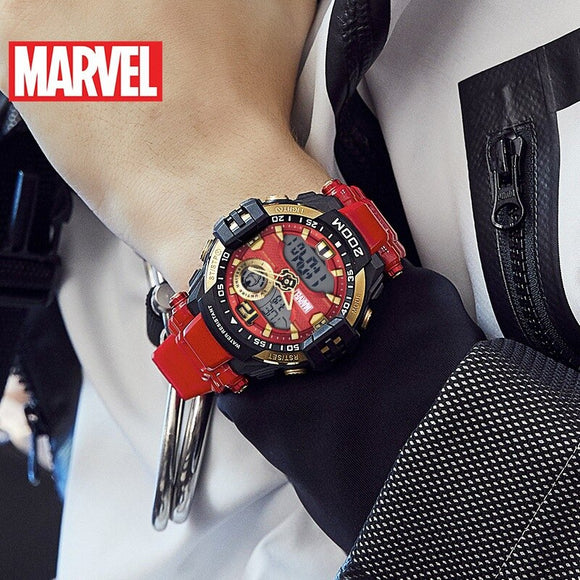 Disney Marvel Digital Dual Display Wristwatch Iron Man Personality Trend Waterproof Sports Watch Couple Watch Gift for Men 20Bar
