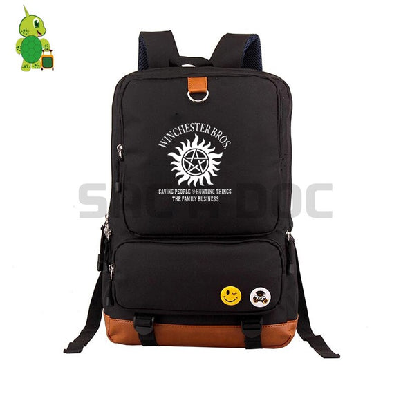 Supernatural Sam Dean Bros Backpacks School Bag for Teenagers Students Canvas Laptop Backpack Women Men Casual Travel Bags
