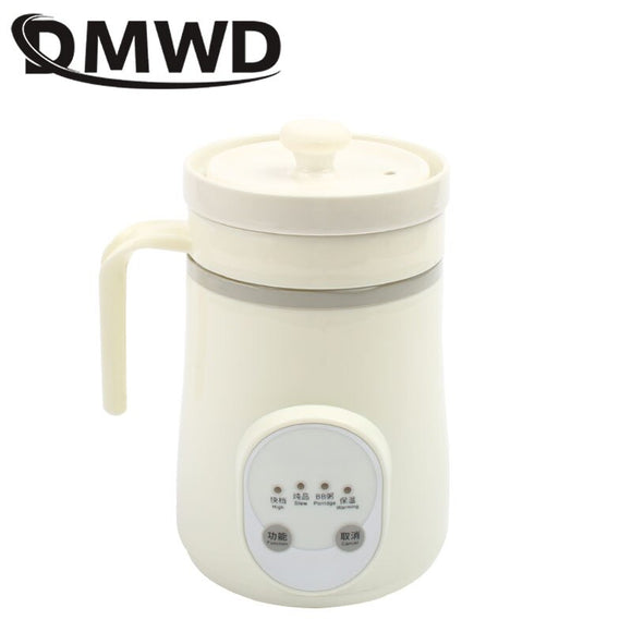 DMWD Ceramics Mini Electric Water Kettle Thermal Heating Cup Boiler Soup Health Pot Stew Porridge Slow Cooker Milk Heater 0.6L