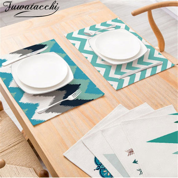 FuwatacchiHot Geometric Patterns Distinctive Placemat Green Simple Table Napkins Dining Table Mat Bowls Drink Coasters Kitchen