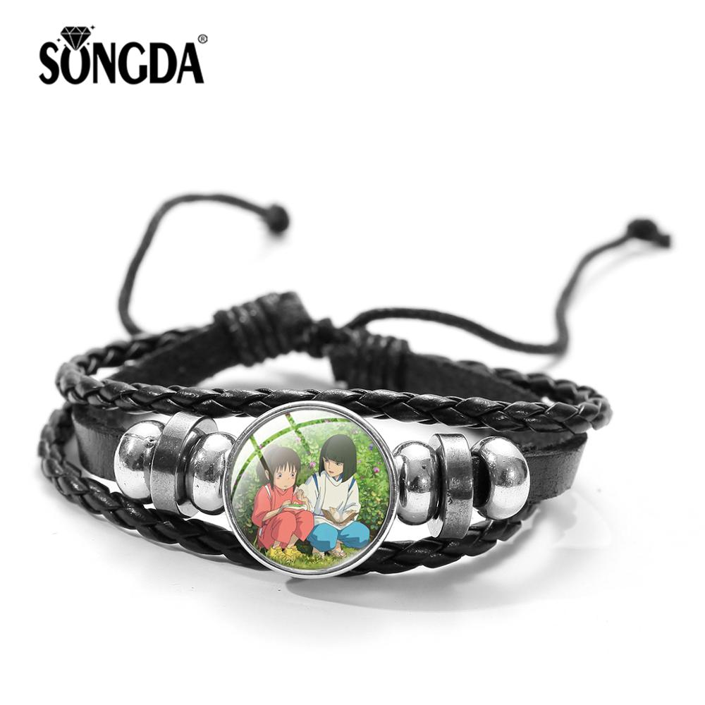 Spirited Away Multilayer Leather Bracelet Anime Cartoon Print Glass Cabochon Charm Beads Bracelets for Kids Punk Wrap Wristband