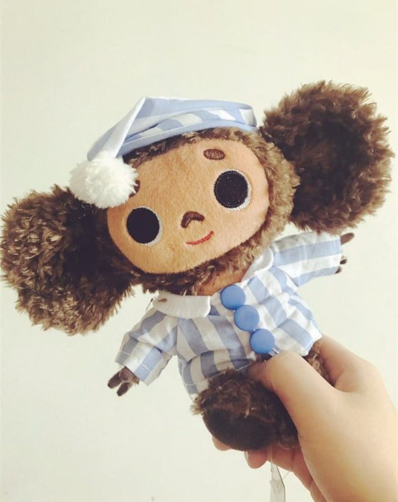 Super Cute Big Eyes Monkey With Hat Plush Toy Cheburashka Soft Doll Anime Toy Baby Kids Sleep Appease Doll