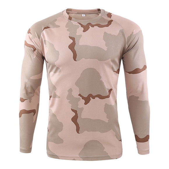 Men's Long Sleeve T-shirt Outdoor Camouflage T-shirt Quick-drying Camouflage Hunting Hiking Camping Men's Shirt 2020
