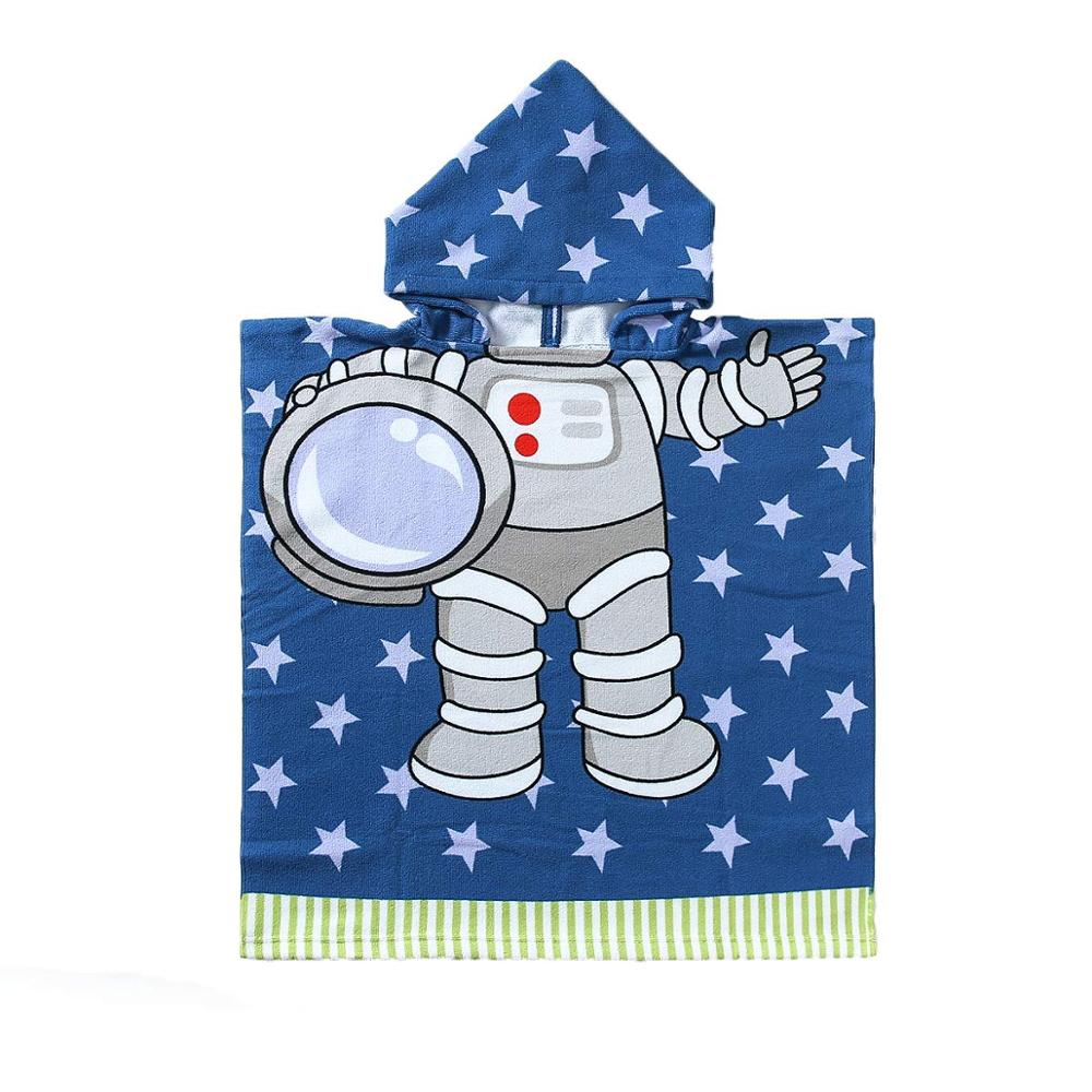 Megartico Kids Hooded Beach Towel Poncho Baby Bath Astronaut Towels with Hood for Boys Girls Toddlers Swim Pool Towel