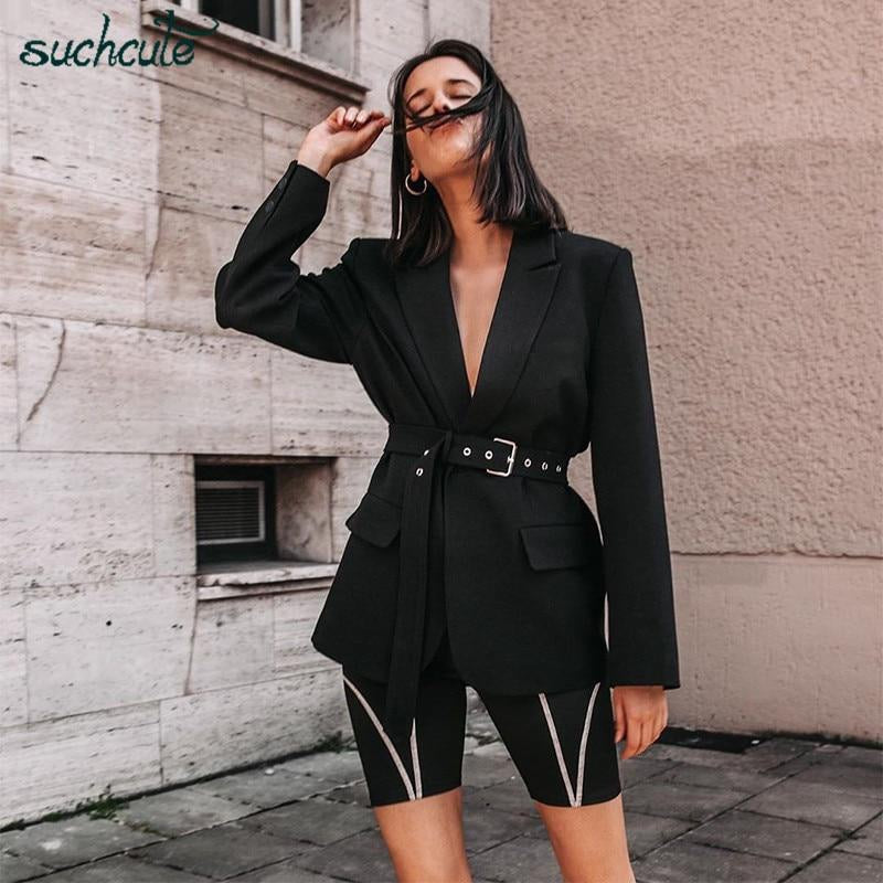 SUCHCUTE Black Casual Blazers Women Feminino Korean Style Autumn 2019 Jackets Chaqueta Mujer Coats Female Adjustable Veste Femme