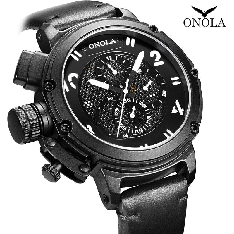 ONOLA big dial Automatic mechanical watch male youth waterproof black wristwatch casual sports Genuine Leather men watch 2019