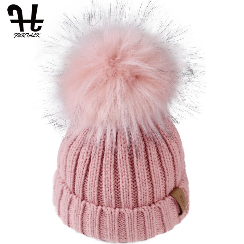 FURTALK Kids Winter Hat Beanie Hat Toddler Boys Girls Knit Faux Fur Pom Pom Hat Age1-10 Years Baby Child Winter Cotton Lined Cap